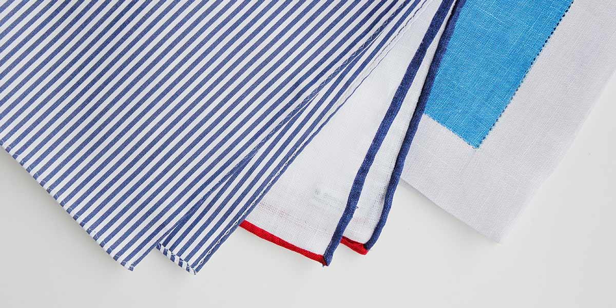 ハンカチ専門店 H TOKYO の縫製イメージ