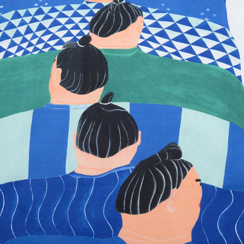 大きな体のあの人達に、夏には涼しげな柄の浴衣を羽織ってぞろぞろと練り歩いてほしい。 暑さも忘れてハッとする。  サイズ52×52cm、綿100%、チドリ縫製、日本製。