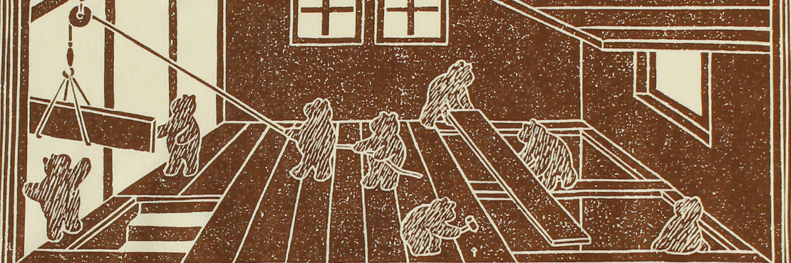クマたちによる家づくりを描きました。 左上のコマから時計回りに見ていくと連続するストーリーになっています。  サイズ52×52cm、綿100%、チドリ縫製、日本製。